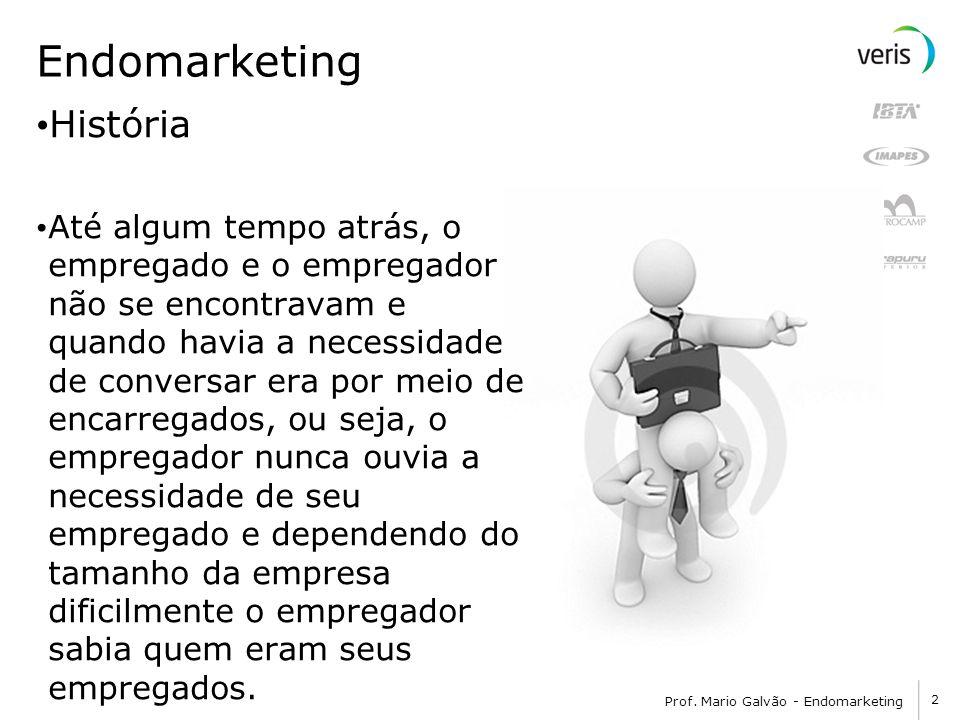 2 Prof. Mario Galvão - Endomarketing Endomarketing História Até algum tempo atrás, o empregado e o empregador não se encontravam e quando havia a nece