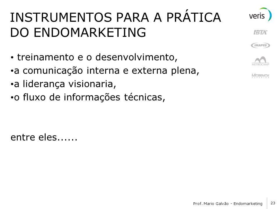 23 Prof. Mario Galvão - Endomarketing INSTRUMENTOS PARA A PRÁTICA DO ENDOMARKETING treinamento e o desenvolvimento, a comunicação interna e externa pl