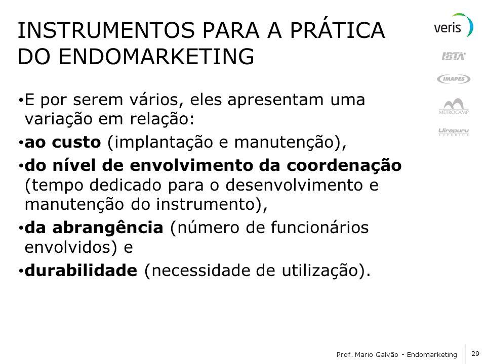 29 Prof. Mario Galvão - Endomarketing INSTRUMENTOS PARA A PRÁTICA DO ENDOMARKETING E por serem vários, eles apresentam uma variação em relação: ao cus