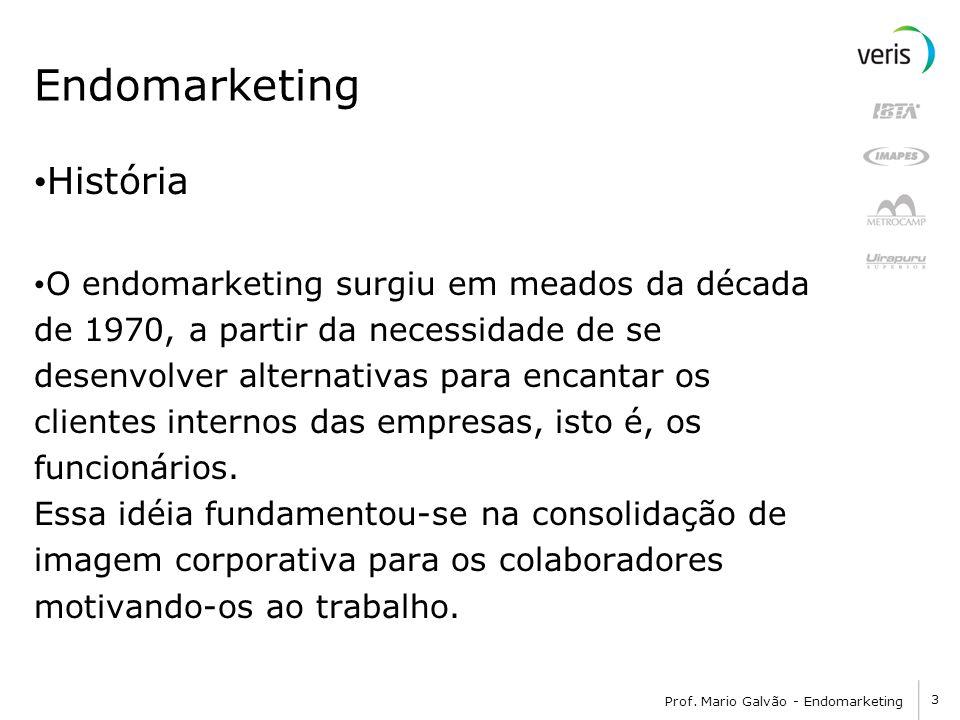 3 Prof. Mario Galvão - Endomarketing Endomarketing História O endomarketing surgiu em meados da década de 1970, a partir da necessidade de se desenvol