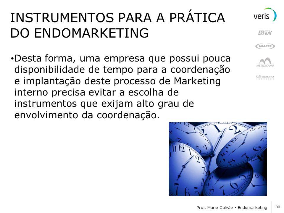 30 Prof. Mario Galvão - Endomarketing INSTRUMENTOS PARA A PRÁTICA DO ENDOMARKETING Desta forma, uma empresa que possui pouca disponibilidade de tempo