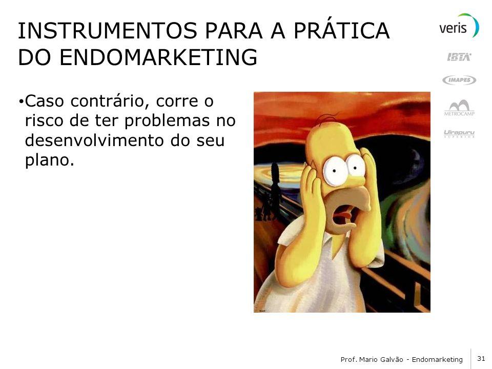 31 Prof. Mario Galvão - Endomarketing INSTRUMENTOS PARA A PRÁTICA DO ENDOMARKETING Caso contrário, corre o risco de ter problemas no desenvolvimento d