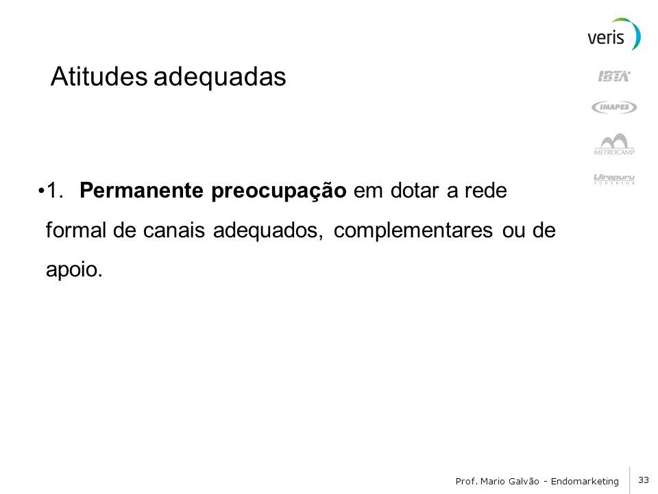 33 Prof. Mario Galvão - Endomarketing Atitudes adequadas 1. Permanente preocupação em dotar a rede formal de canais adequados, complementares ou de ap