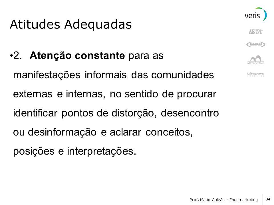34 Prof. Mario Galvão - Endomarketing Atitudes Adequadas 2. Atenção constante para as manifestações informais das comunidades externas e internas, no