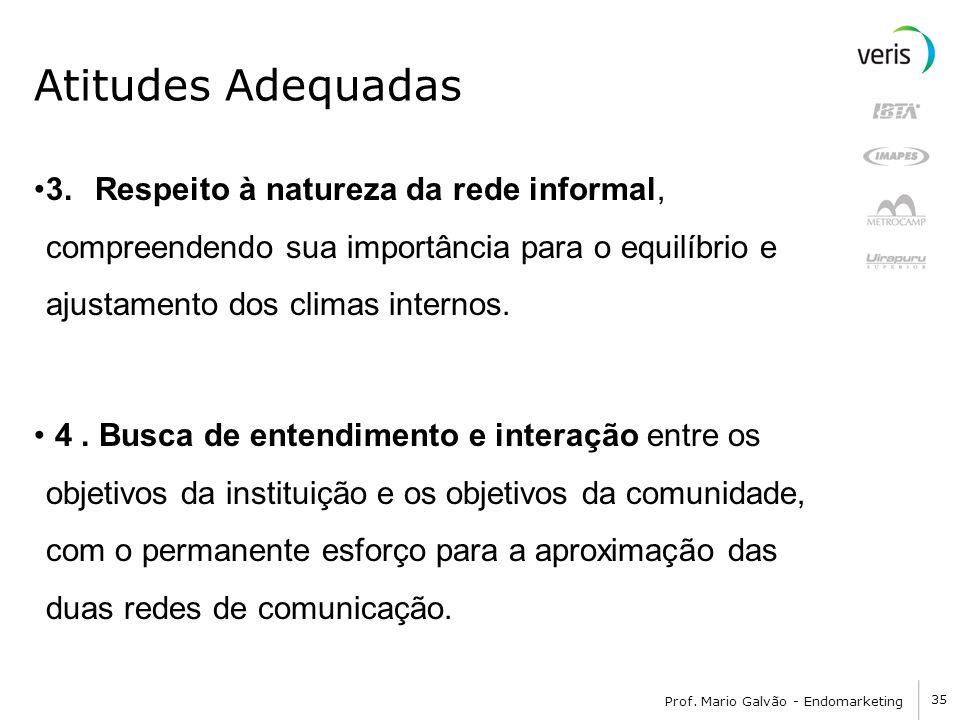 35 Prof. Mario Galvão - Endomarketing Atitudes Adequadas 3. Respeito à natureza da rede informal, compreendendo sua importância para o equilíbrio e aj