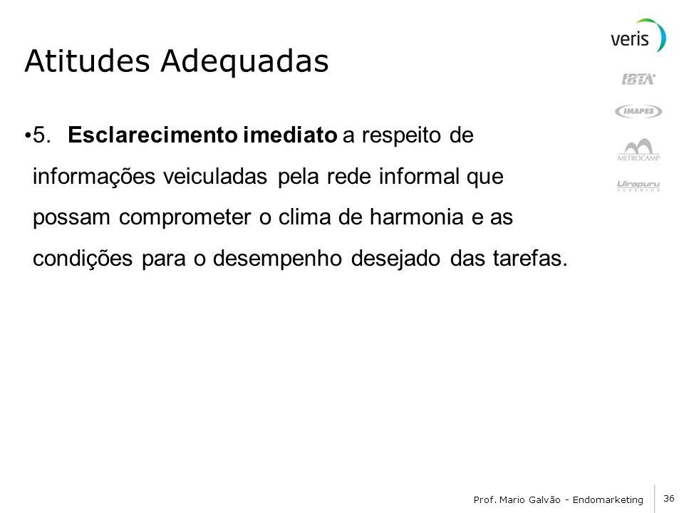 36 Prof. Mario Galvão - Endomarketing Atitudes Adequadas 5. Esclarecimento imediato a respeito de informações veiculadas pela rede informal que possam