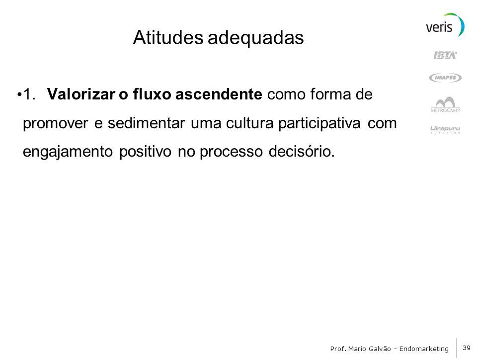 39 Prof. Mario Galvão - Endomarketing Atitudes adequadas 1. Valorizar o fluxo ascendente como forma de promover e sedimentar uma cultura participativa