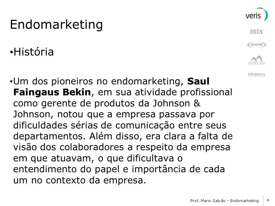 4 Prof. Mario Galvão - Endomarketing Endomarketing História Saul Faingaus Bekin Um dos pioneiros no endomarketing, Saul Faingaus Bekin, em sua ativida