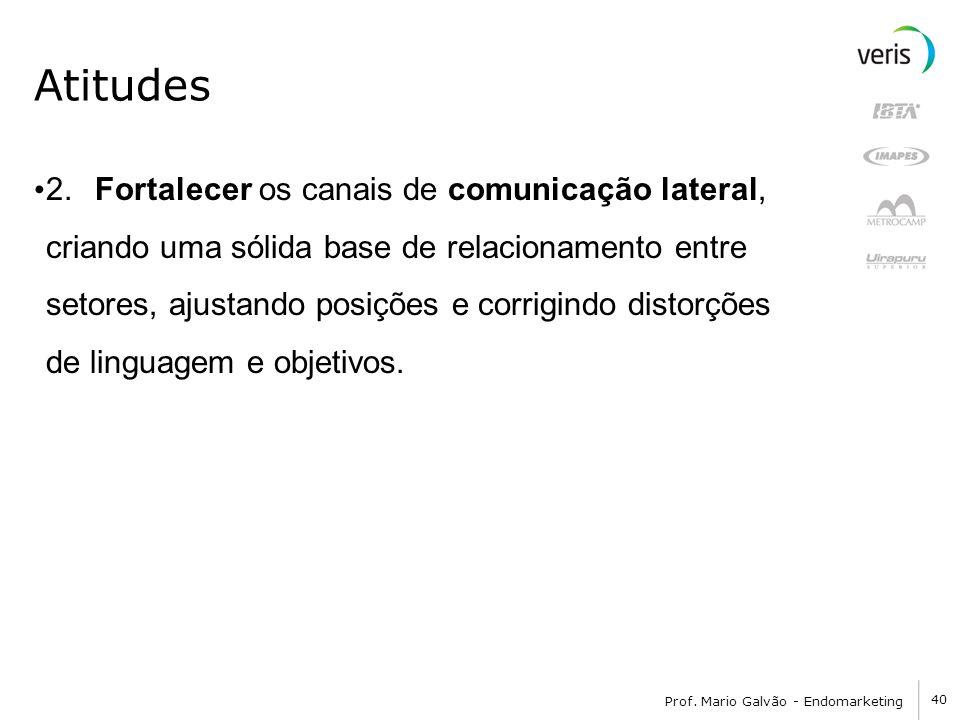 40 Prof. Mario Galvão - Endomarketing Atitudes 2. Fortalecer os canais de comunicação lateral, criando uma sólida base de relacionamento entre setores