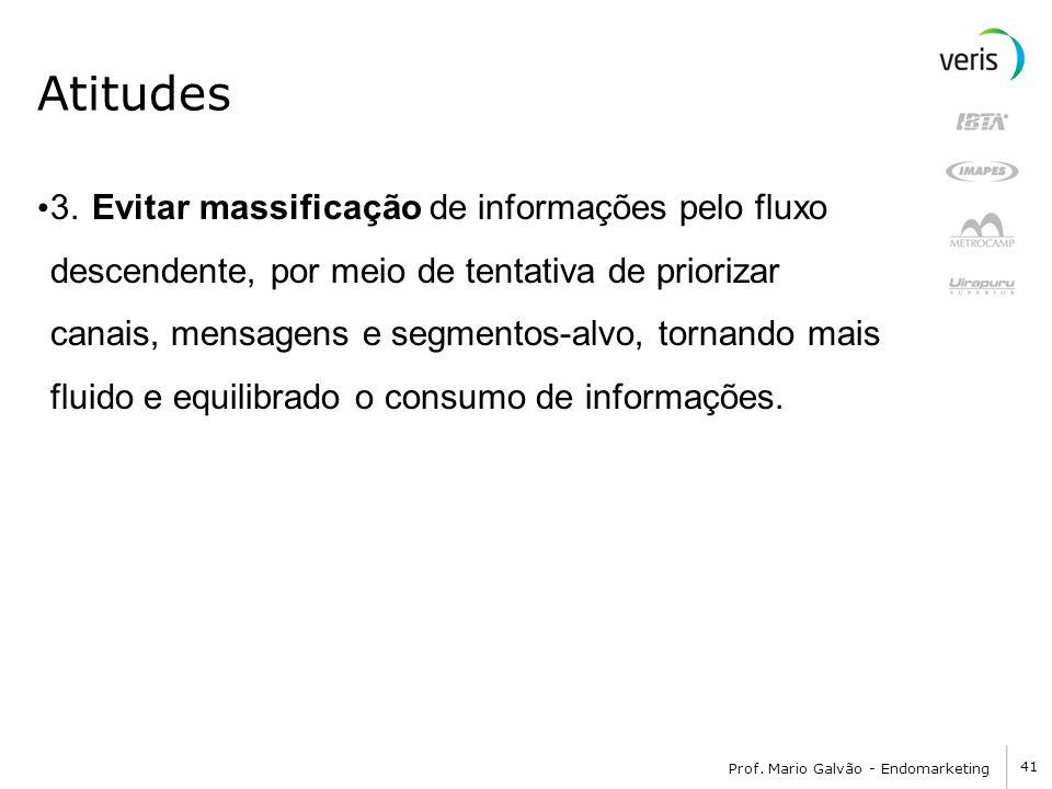 41 Prof. Mario Galvão - Endomarketing Atitudes 3. Evitar massificação de informações pelo fluxo descendente, por meio de tentativa de priorizar canais