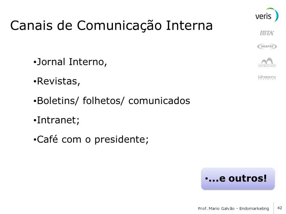 42 Prof. Mario Galvão - Endomarketing Canais de Comunicação Interna Jornal Interno, Revistas, Boletins/ folhetos/ comunicados Intranet; Café com o pre