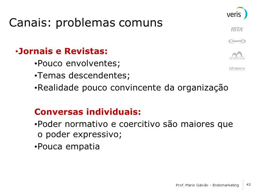 43 Prof. Mario Galvão - Endomarketing Canais: problemas comuns Jornais e Revistas: Pouco envolventes; Temas descendentes; Realidade pouco convincente