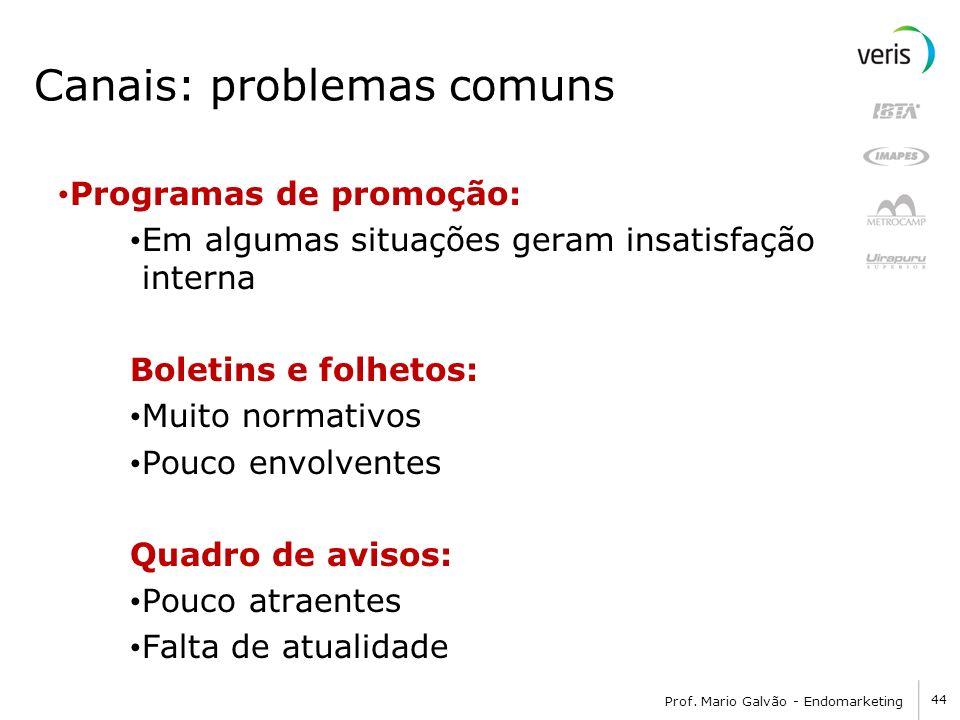 44 Prof. Mario Galvão - Endomarketing Canais: problemas comuns Programas de promoção: Em algumas situações geram insatisfação interna Boletins e folhe