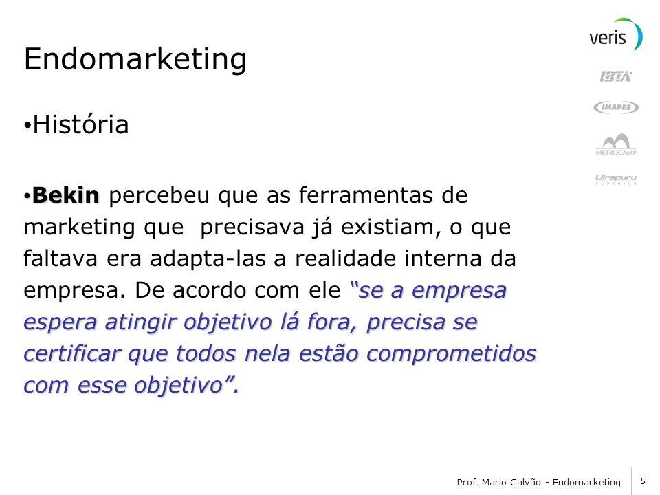 5 Prof. Mario Galvão - Endomarketing Endomarketing História Bekin Bekin percebeu que as ferramentas de marketing que precisava já existiam, o que falt