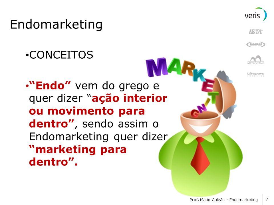 7 Prof. Mario Galvão - Endomarketing Endomarketing CONCEITOS Endo vem do grego e quer dizer ação interior ou movimento para dentro, sendo assim o Endo