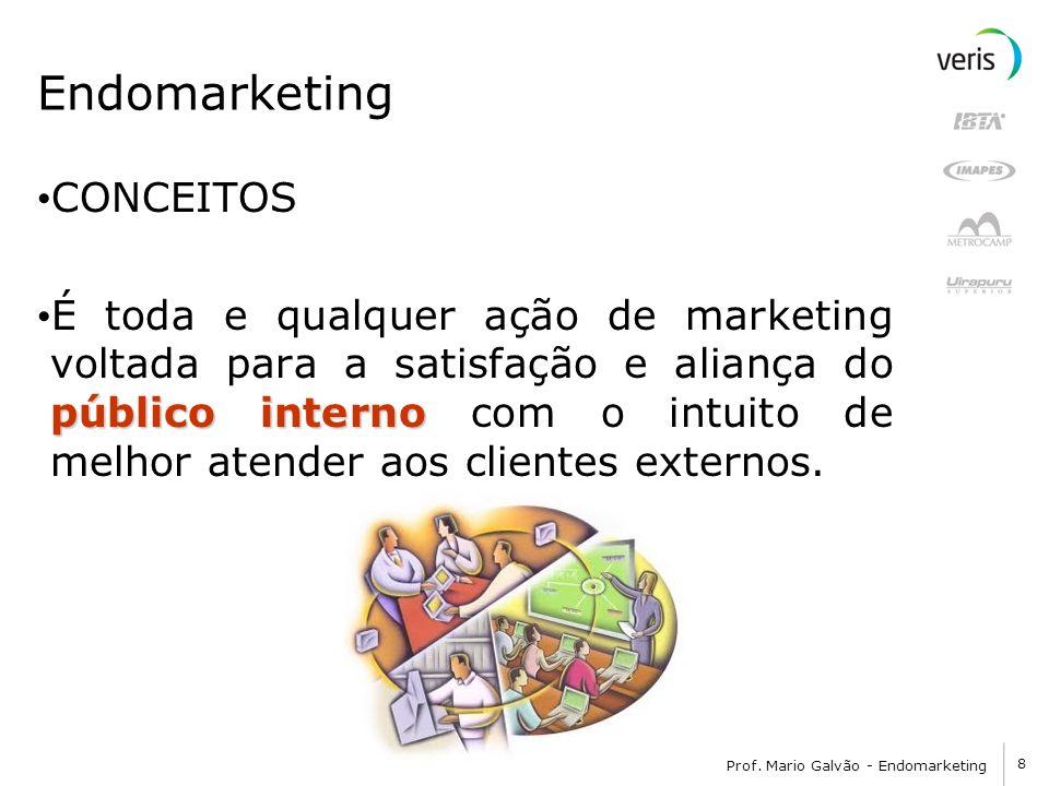 8 Prof. Mario Galvão - Endomarketing Endomarketing CONCEITOS público interno É toda e qualquer ação de marketing voltada para a satisfação e aliança d