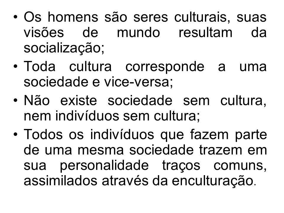 Os homens são seres culturais, suas visões de mundo resultam da socialização; Toda cultura corresponde a uma sociedade e vice-versa; Não existe socied