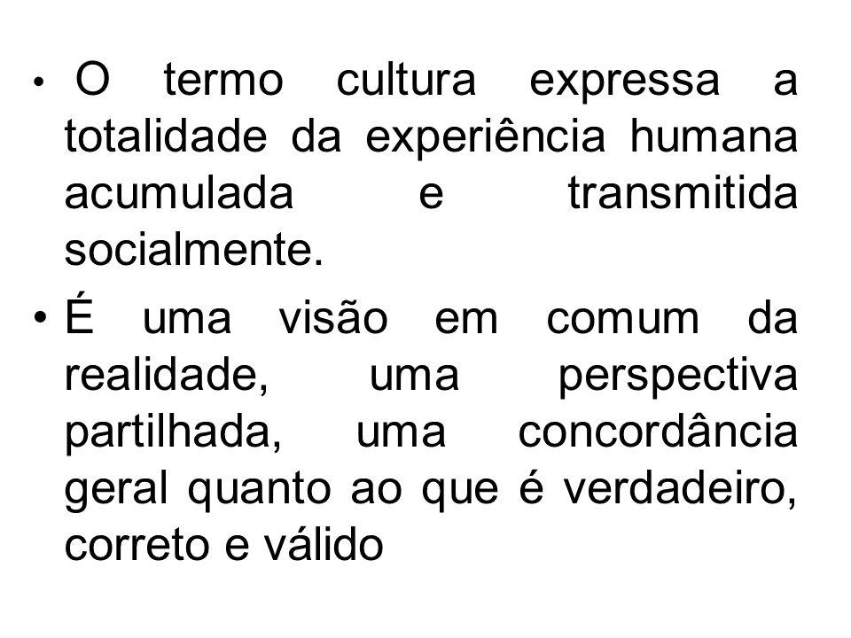 O termo cultura expressa a totalidade da experiência humana acumulada e transmitida socialmente. É uma visão em comum da realidade, uma perspectiva pa