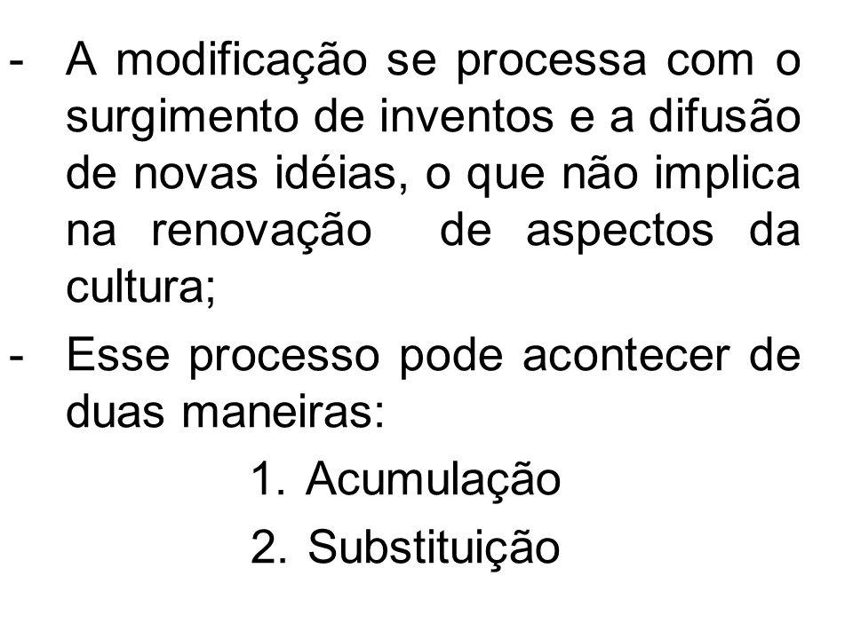 -A modificação se processa com o surgimento de inventos e a difusão de novas idéias, o que não implica na renovação de aspectos da cultura; -Esse proc