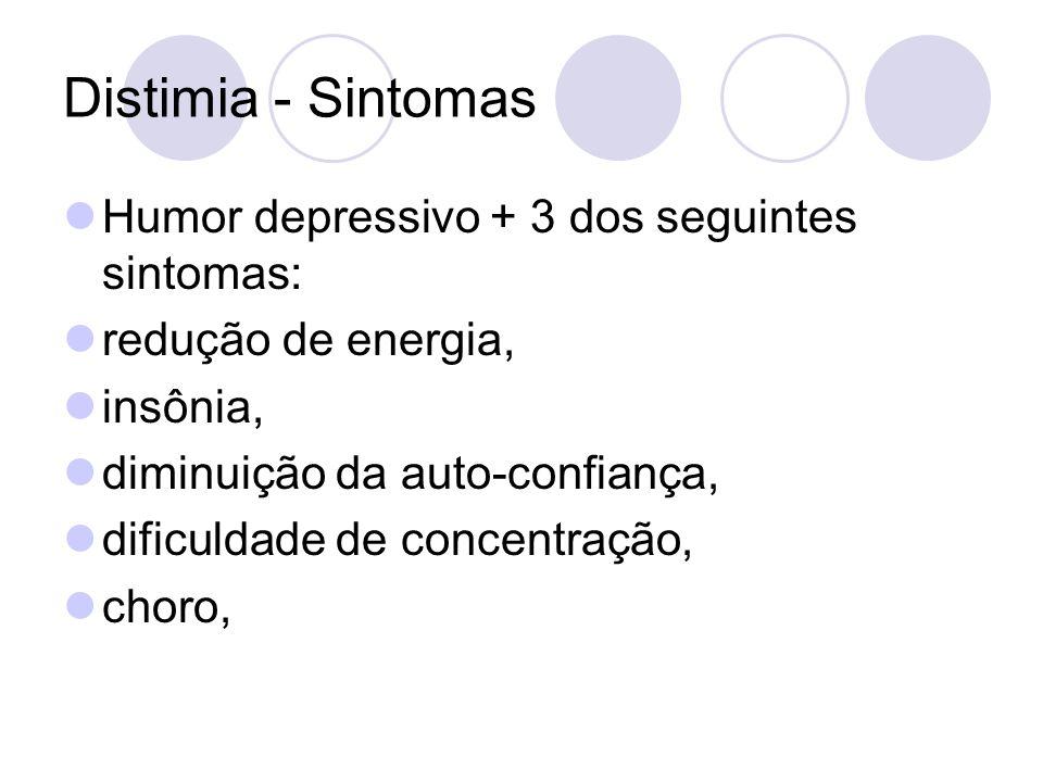Distimia - Sintomas Humor depressivo + 3 dos seguintes sintomas: redução de energia, insônia, diminuição da auto-confiança, dificuldade de concentraçã