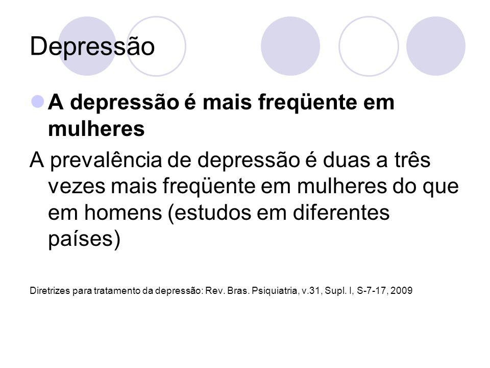 Depressão A depressão é mais freqüente em mulheres A prevalência de depressão é duas a três vezes mais freqüente em mulheres do que em homens (estudos