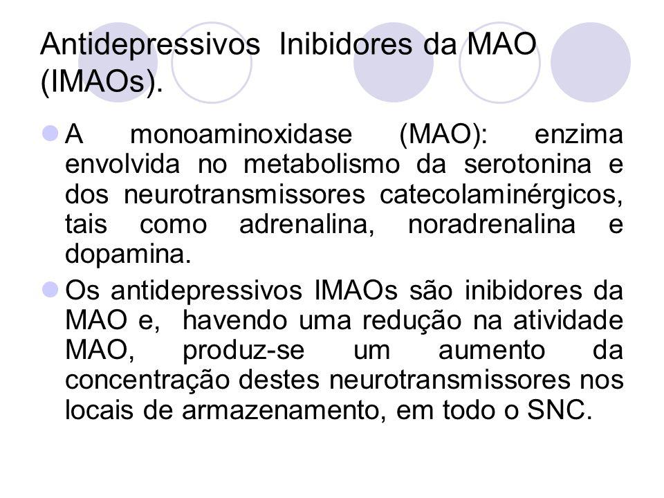 Antidepressivos Inibidores da MAO (IMAOs). A monoaminoxidase (MAO): enzima envolvida no metabolismo da serotonina e dos neurotransmissores catecolamin
