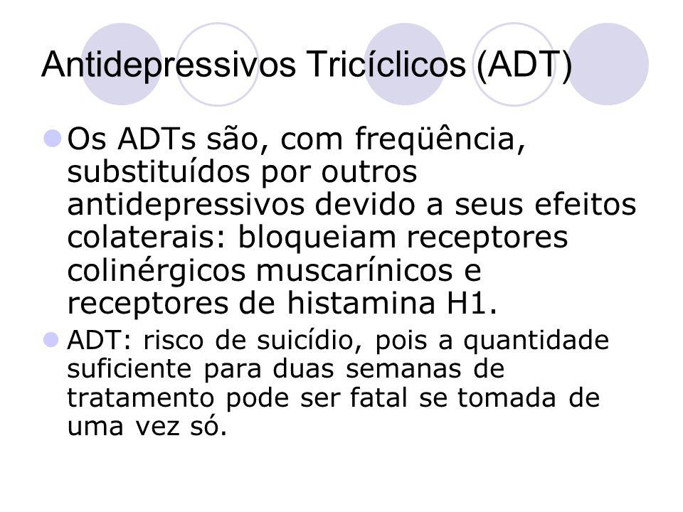 Antidepressivos Tricíclicos (ADT) Os ADTs são, com freqüência, substituídos por outros antidepressivos devido a seus efeitos colaterais: bloqueiam rec