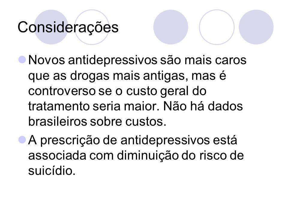 Considerações Novos antidepressivos são mais caros que as drogas mais antigas, mas é controverso se o custo geral do tratamento seria maior. Não há da