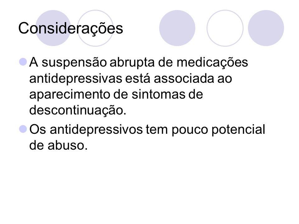 Considerações A suspensão abrupta de medicações antidepressivas está associada ao aparecimento de sintomas de descontinuação. Os antidepressivos tem p