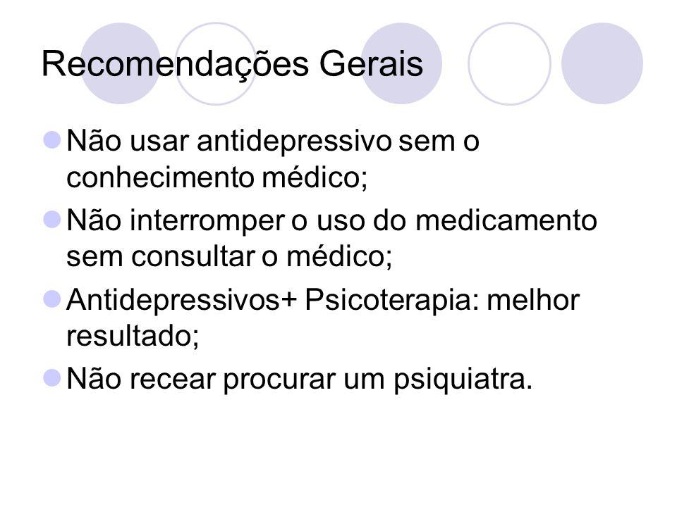 Recomendações Gerais Não usar antidepressivo sem o conhecimento médico; Não interromper o uso do medicamento sem consultar o médico; Antidepressivos+