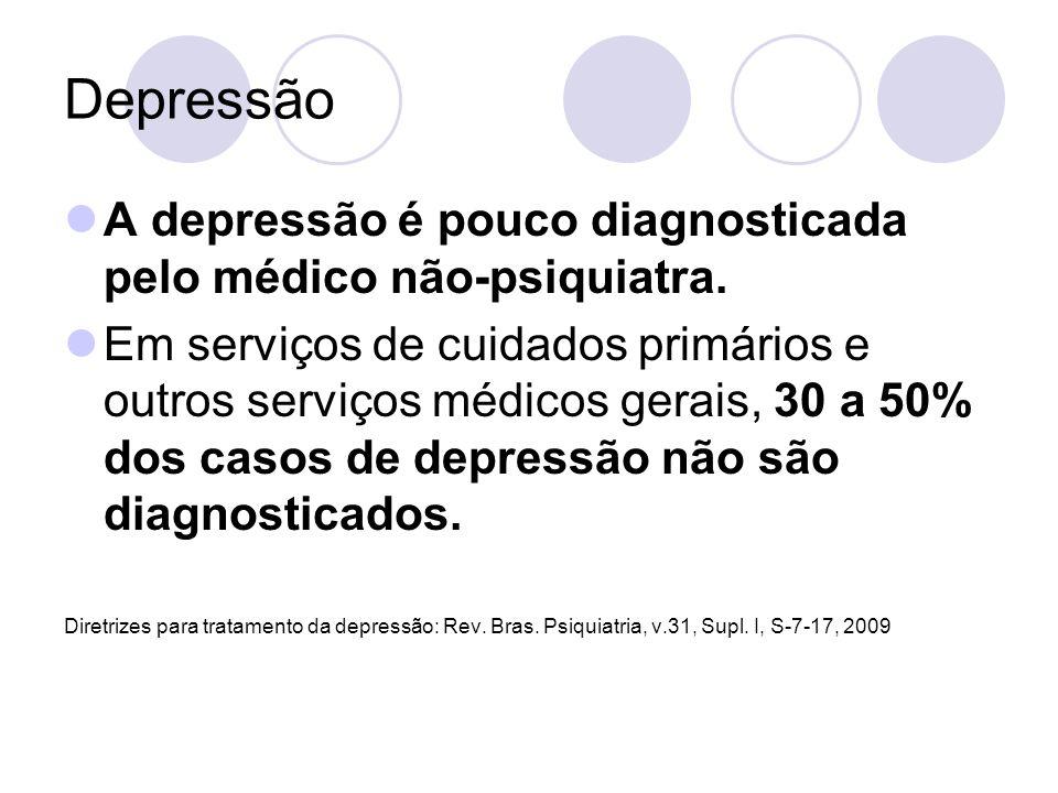 Depressão A depressão é pouco diagnosticada pelo médico não-psiquiatra. Em serviços de cuidados primários e outros serviços médicos gerais, 30 a 50% d