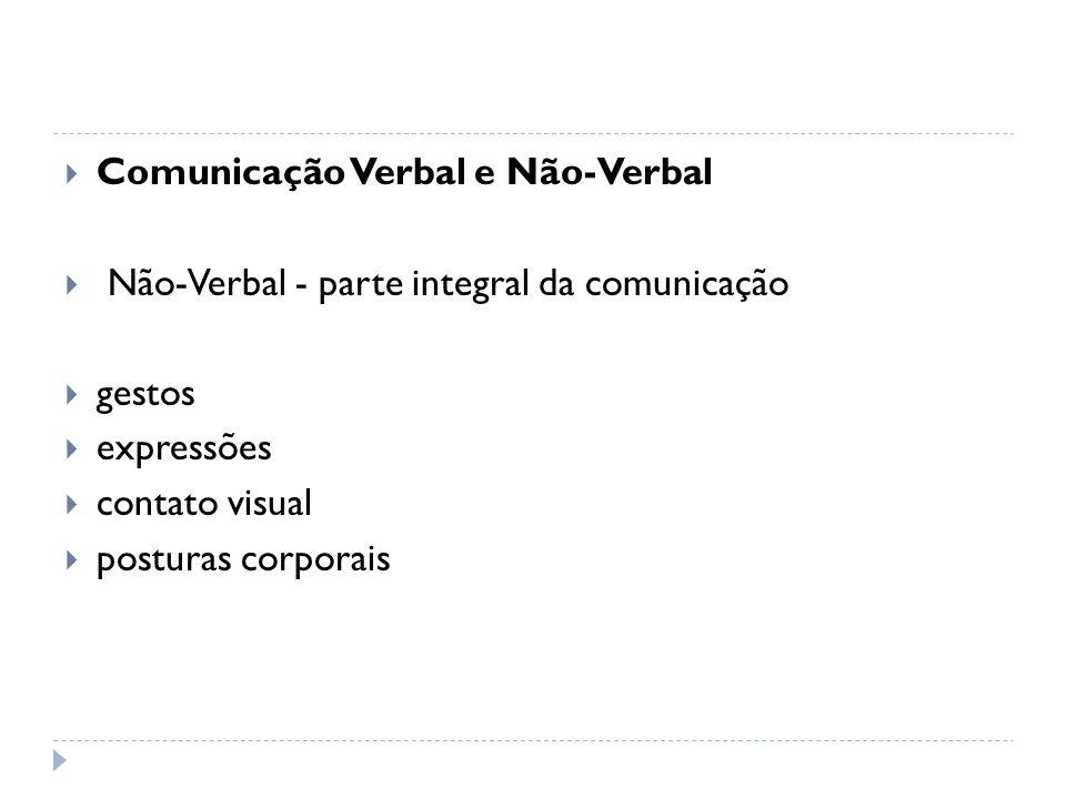 Comunicação Verbal e Não-Verbal Não-Verbal - parte integral da comunicação gestos expressões contato visual posturas corporais
