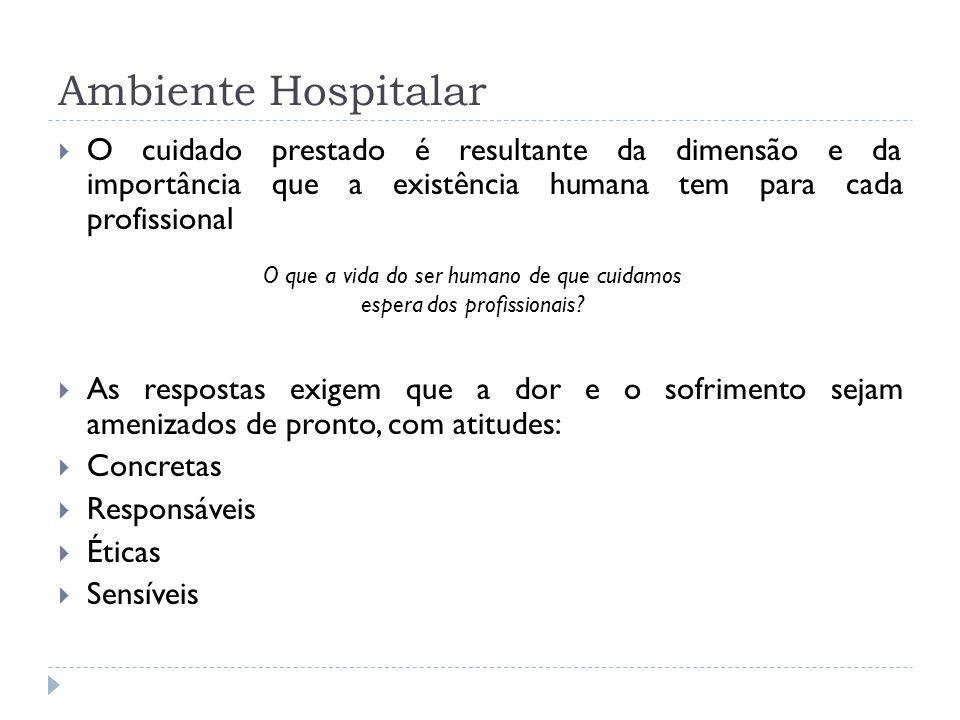 Ambiente Hospitalar O cuidado prestado é resultante da dimensão e da importância que a existência humana tem para cada profissional As respostas exige