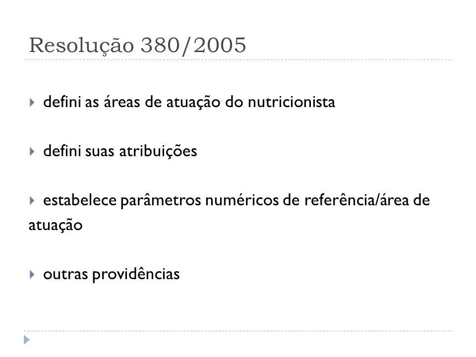 Resolução 380/2005 defini as áreas de atuação do nutricionista defini suas atribuições estabelece parâmetros numéricos de referência/área de atuação o