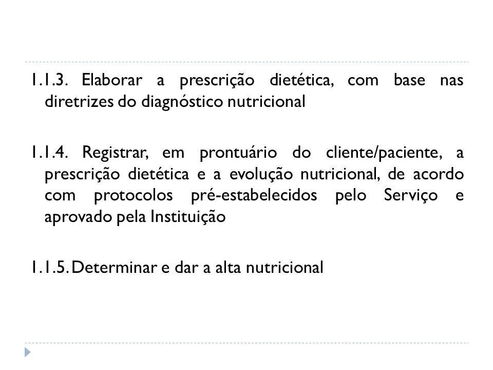 1.1.3. Elaborar a prescrição dietética, com base nas diretrizes do diagnóstico nutricional 1.1.4. Registrar, em prontuário do cliente/paciente, a pres