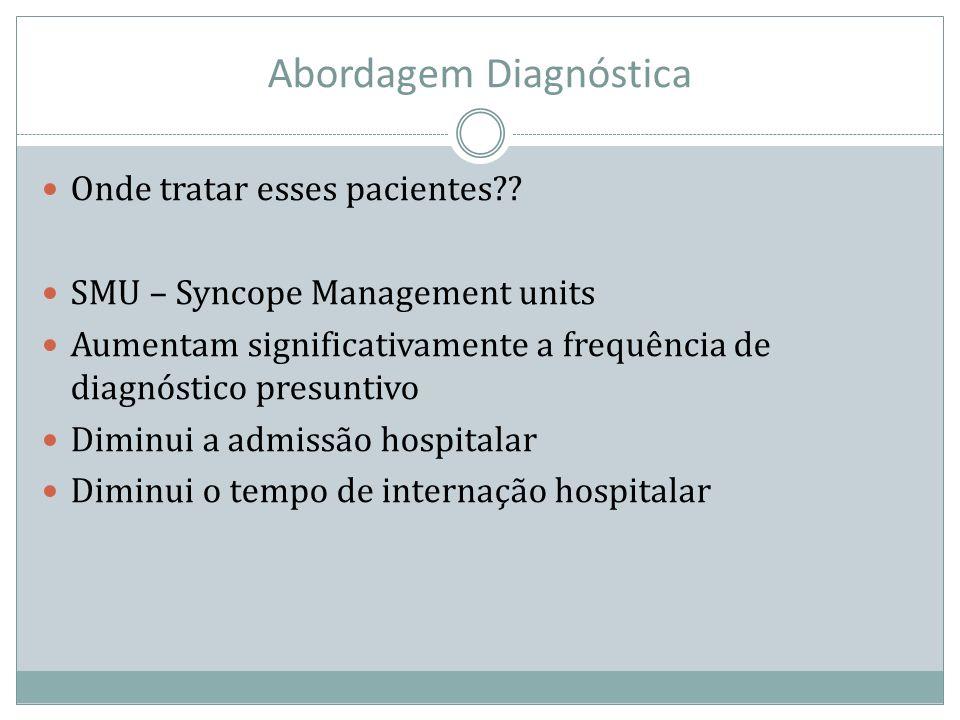 Abordagem Diagnóstica Onde tratar esses pacientes?? SMU – Syncope Management units Aumentam significativamente a frequência de diagnóstico presuntivo