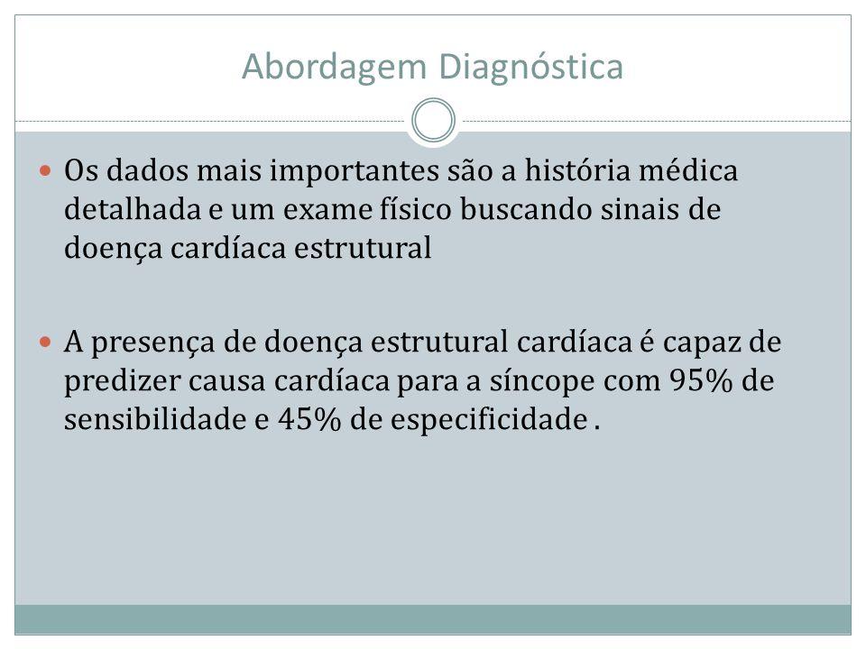 Abordagem Diagnóstica Os dados mais importantes são a história médica detalhada e um exame físico buscando sinais de doença cardíaca estrutural A pres