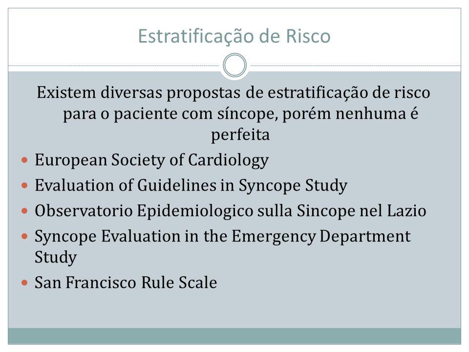 Estratificação de Risco Existem diversas propostas de estratificação de risco para o paciente com síncope, porém nenhuma é perfeita European Society o