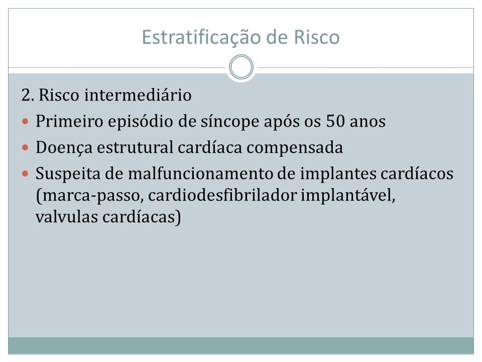 Estratificação de Risco 2. Risco intermediário Primeiro episódio de síncope após os 50 anos Doença estrutural cardíaca compensada Suspeita de malfunci