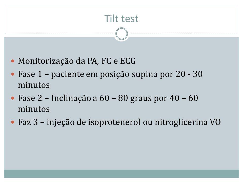 Tilt test Monitorização da PA, FC e ECG Fase 1 – paciente em posição supina por 20 - 30 minutos Fase 2 – Inclinação a 60 – 80 graus por 40 – 60 minuto