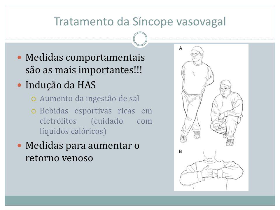 Tratamento da Síncope vasovagal Medidas comportamentais são as mais importantes!!! Indução da HAS Aumento da ingestão de sal Bebidas esportivas ricas