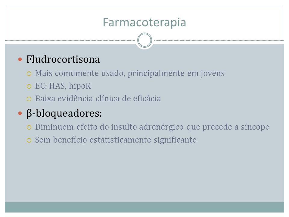 Farmacoterapia Fludrocortisona Mais comumente usado, principalmente em jovens EC: HAS, hipoK Baixa evidência clínica de eficácia β-bloqueadores: Dimin