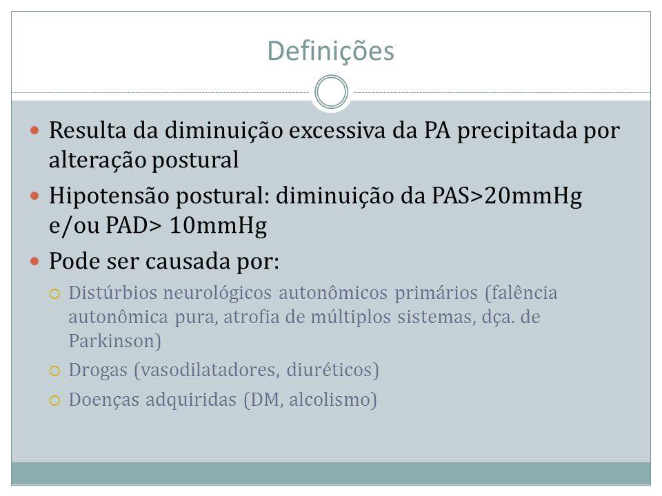 Definições Resulta da diminuição excessiva da PA precipitada por alteração postural Hipotensão postural: diminuição da PAS>20mmHg e/ou PAD> 10mmHg Pod