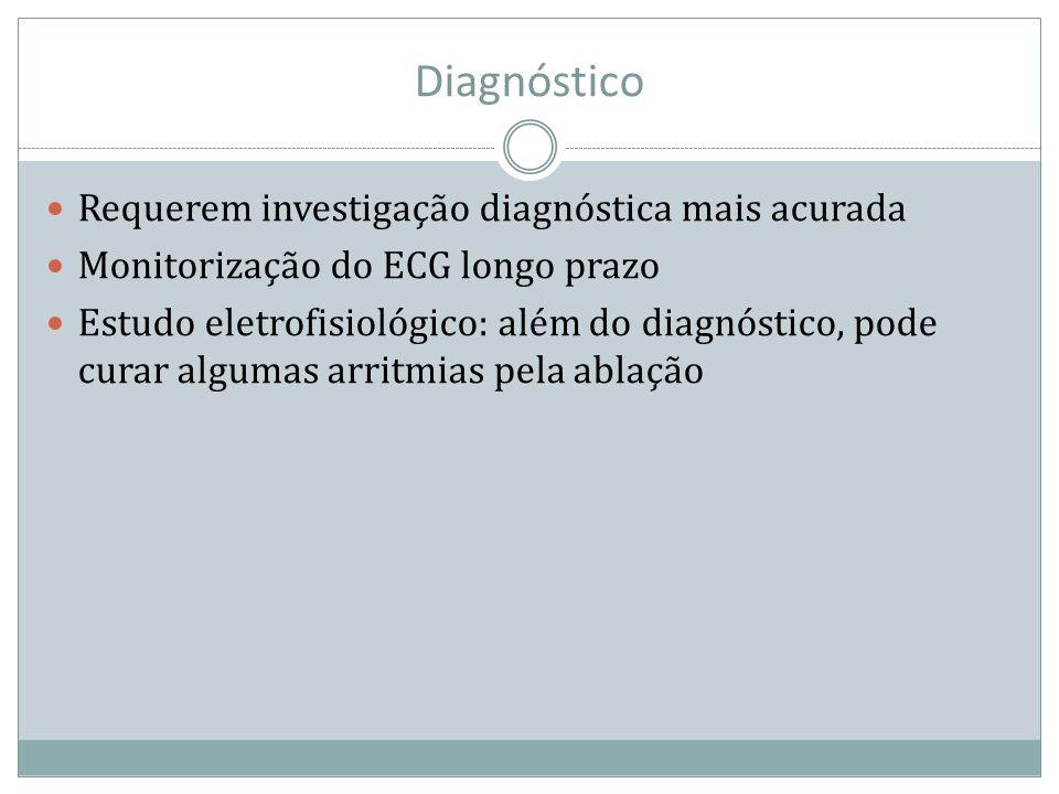 Diagnóstico Requerem investigação diagnóstica mais acurada Monitorização do ECG longo prazo Estudo eletrofisiológico: além do diagnóstico, pode curar