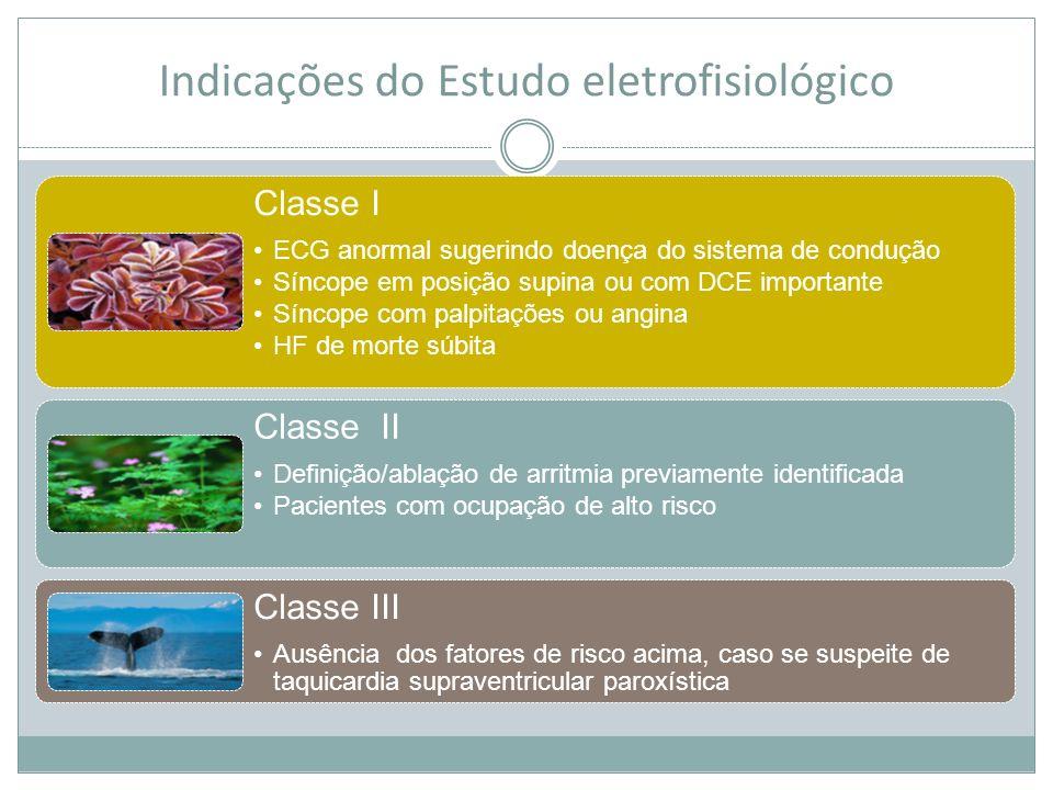 Indicações do Estudo eletrofisiológico Classe I ECG anormal sugerindo doença do sistema de condução Síncope em posição supina ou com DCE importante Sí