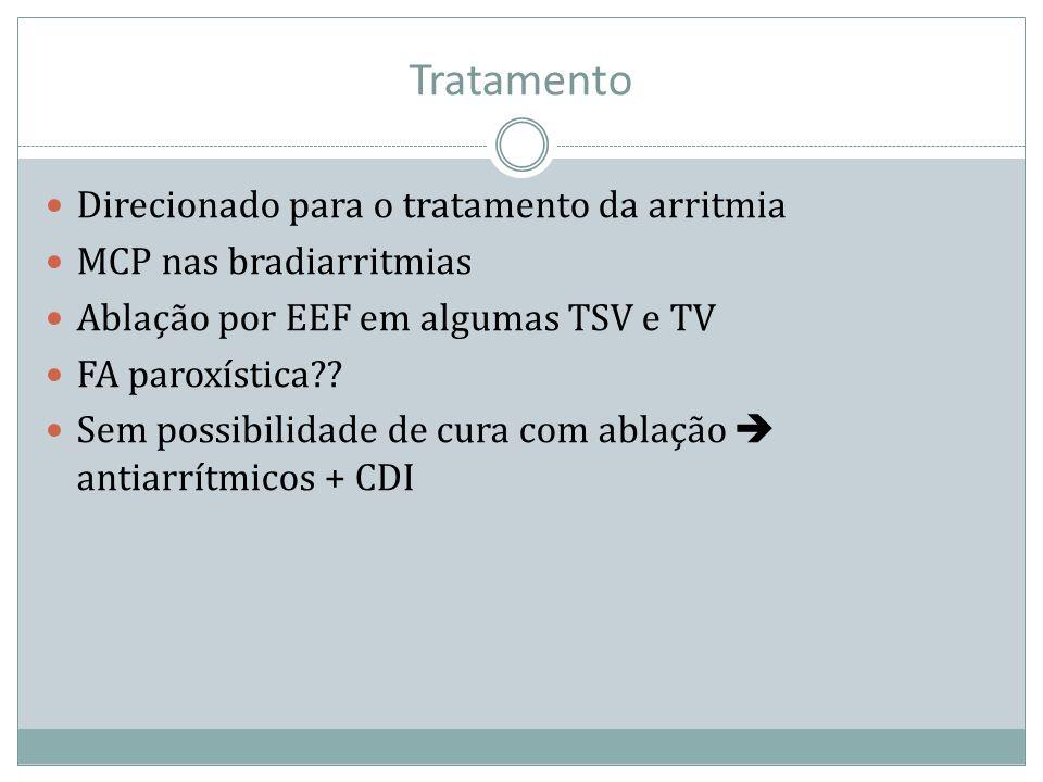 Tratamento Direcionado para o tratamento da arritmia MCP nas bradiarritmias Ablação por EEF em algumas TSV e TV FA paroxística?? Sem possibilidade de