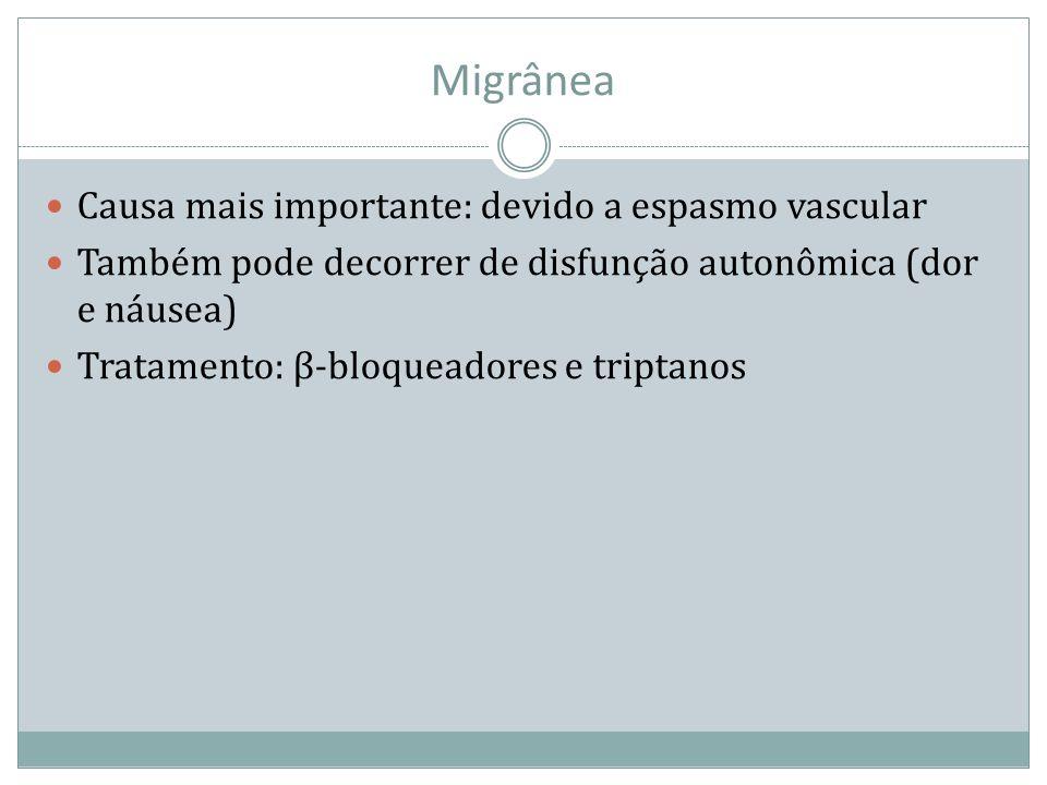 Migrânea Causa mais importante: devido a espasmo vascular Também pode decorrer de disfunção autonômica (dor e náusea) Tratamento: β-bloqueadores e tri