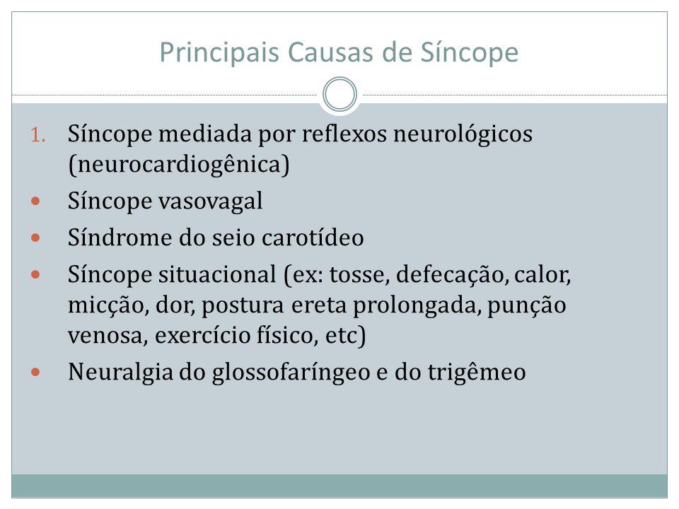 Principais Causas de Síncope 1. Síncope mediada por reflexos neurológicos (neurocardiogênica) Síncope vasovagal Síndrome do seio carotídeo Síncope sit