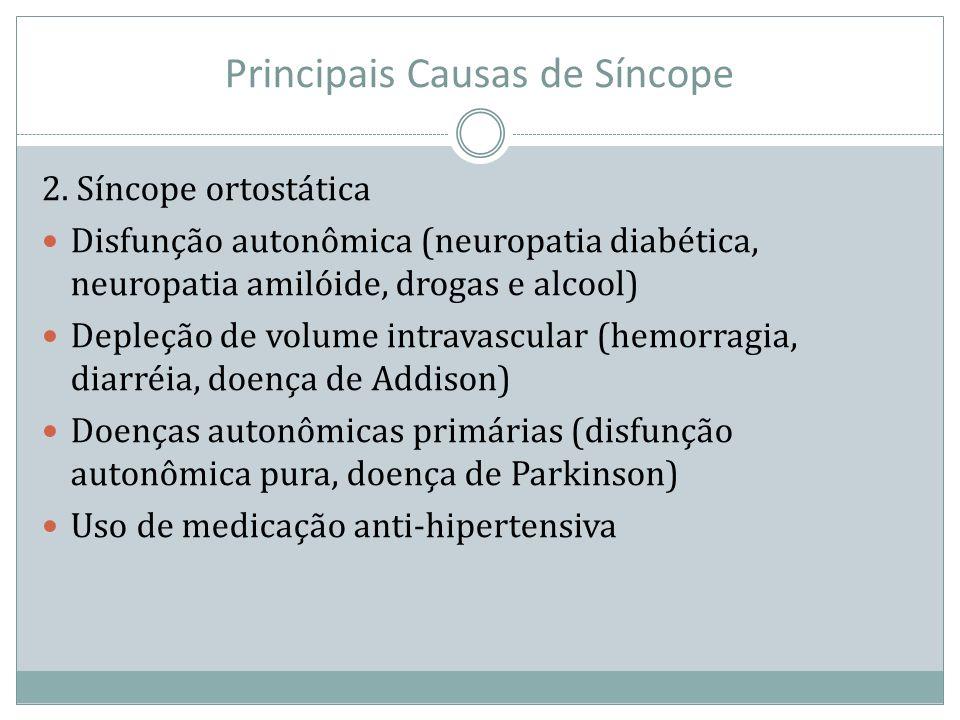 Principais Causas de Síncope 2. Síncope ortostática Disfunção autonômica (neuropatia diabética, neuropatia amilóide, drogas e alcool) Depleção de volu