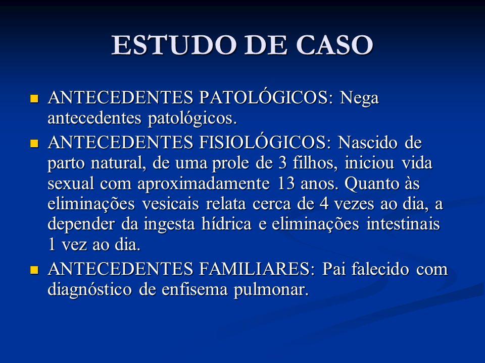 ESTUDO DE CASO ANTECEDENTES PATOLÓGICOS: Nega antecedentes patológicos. ANTECEDENTES PATOLÓGICOS: Nega antecedentes patológicos. ANTECEDENTES FISIOLÓG